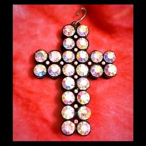 Black metal cross pendant with rhinestones